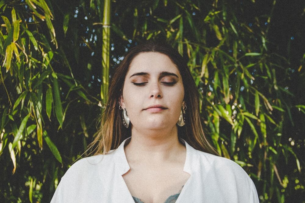 Woman with eyes closed. Mindfulness: where to start